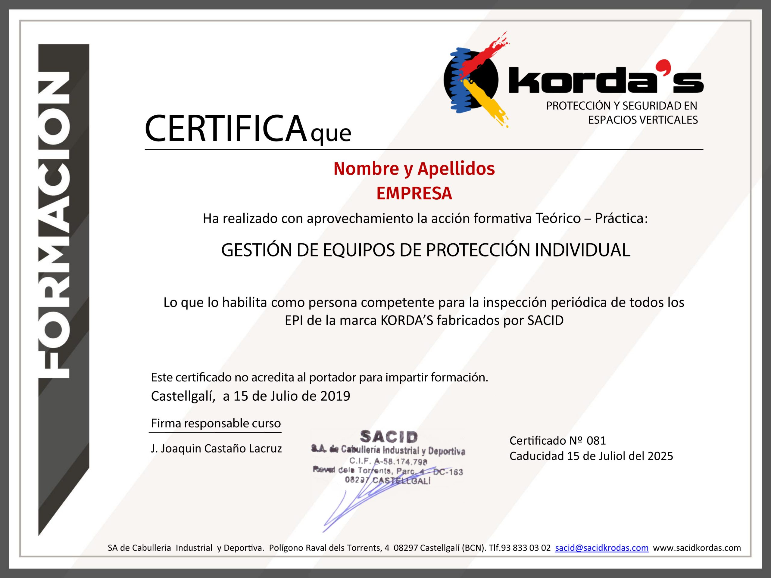 certification kordas